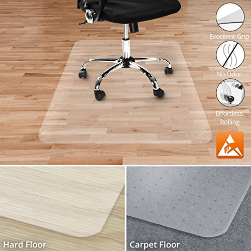 Office Marshal Anti-Static Hard Floor Office Chair Mat - 100% Polycarbonate - 40'' x 48'' - Clear & High Strength - Performa Series - Multiple Sizes by Office Marshal