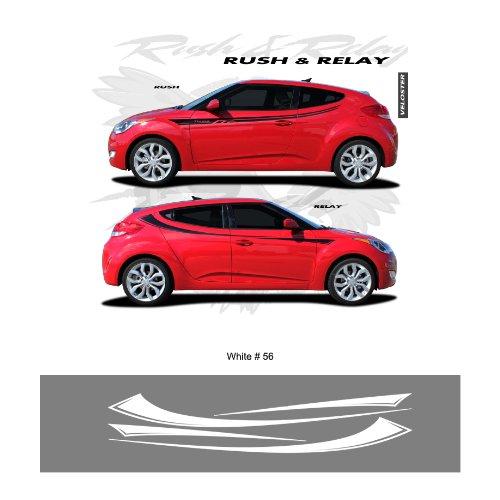 Hyundai Veloster Bright White Body Side Stripes Graphic Kit
