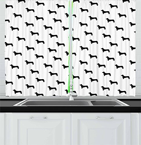 Ambesonne Dog Lover Kitchen Curtains, Monochrome Dachshund Silhouettes Breed Dog Domestic Canine Pattern Pet, Window Drapes 2 Panel Set for Kitchen Cafe, 55 W X 39 L Inches, Charcoal Grey ()