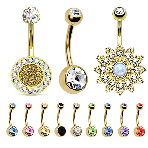 (BodyJ4You 12PC Belly Button Rings CZ Crystal 14G Goldtone Steel Navel Banana Bar Piercing Jewelry)