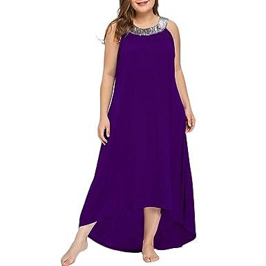 YTJH Pailletten-Kragen ärmellos Plus Größe Maxikleid Frauen Elegant Lang  Vintage Rundhals Kleid Groß Größen Maxikleid Plus Size Partykleid Abendkleid   ... 8e7320a8b4
