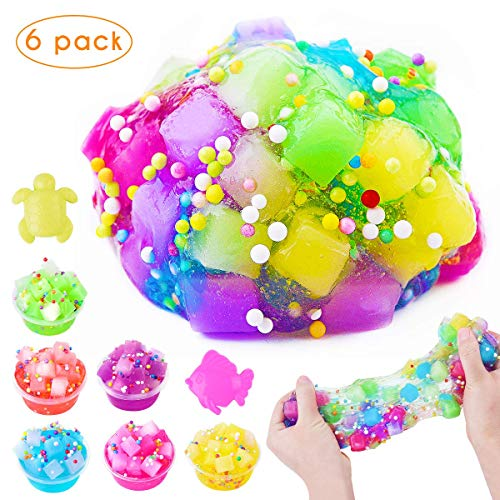 M MOOHAM DIY Jelly Cube Slime - 6 Pack Cute DIY Jelly Cube Slime Stress Relief Toy Clear Crystal Putty Scented Cube Slime for Kids Ages 5+