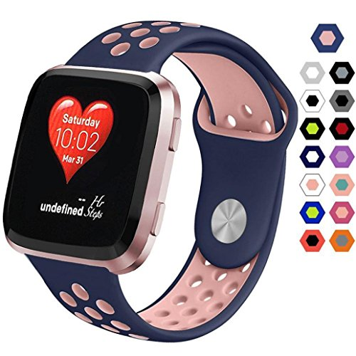 Replacement Silicone Sport Strap Band For Fitbit Versa,Ventilation Holes Soft Silicone Sport Strap (Pink)