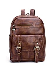 liangdongshop Girls Small Retro Style PU Leather Backpack Daypack Shopping Travel Shoulder Bag(Brown)