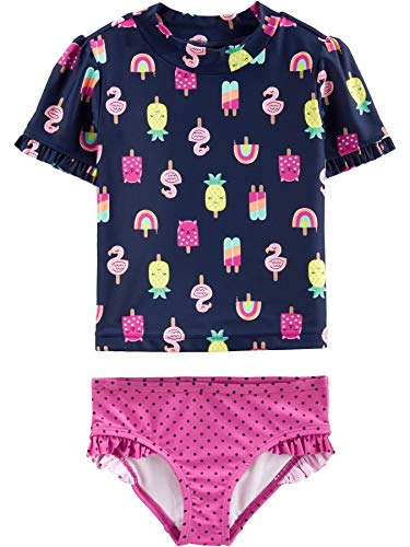 Simple Joys by Carter's Girls' Toddler 2-Piece Rashguard Set, Popsicals, 3T