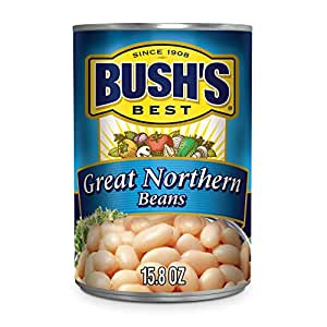 BUSH'S BEST Canned Great Northern Beans (Pack of 12), Source of Plant Based Protein and Fiber, Low Fat, Gluten Free, 15.8 oz
