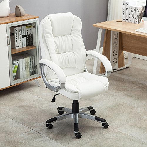 Eight24hours White PU Leather High Back Office Chair Executive Ergonomic Computer Desk Task