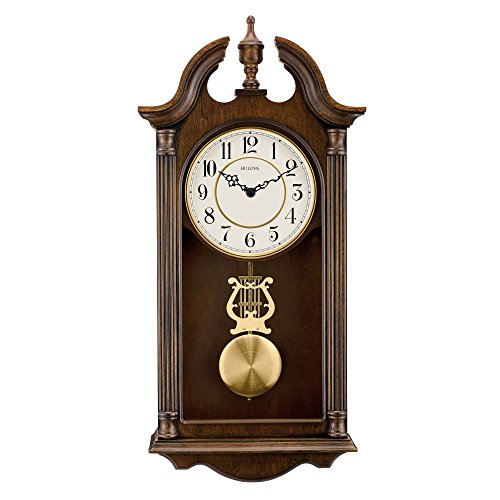 Bulova Say Brook Wall Clock, Brown Cherry