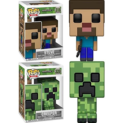 Funko POP! Minecraft: Steve + Creeper – Stylized Video Game Vinyl Figure Set NEW