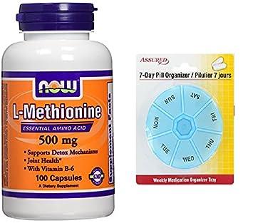 AHORA alimentos L-metionina 500 mg 100 Caps con gratis 7 días plástico píldora organizadores