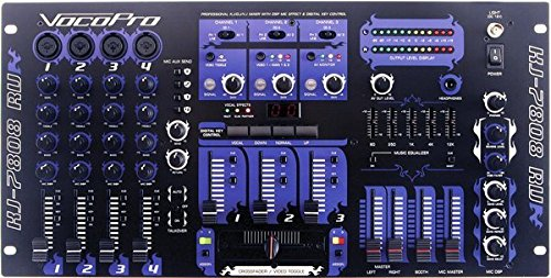VocoPro KJ-7808RV Professional KJ/DJ/VJ Mixer with DSP Mic Effect and Digital Key Control ()
