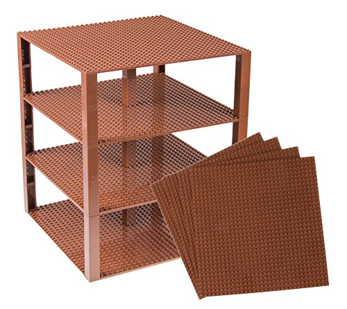Strictly Briks Classic Baseplates 10 x 10 Brik Tower 100% Compatible with All Major Brands   Building Bricks for Towers and More   4 Brown Stackable Base Plates & 30 Stackers