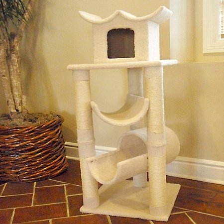 Majestic Pet Products 47 inch Cream Bungalow Cat Furniture Condo House Scratcher Multi Level Pet Activity Tree