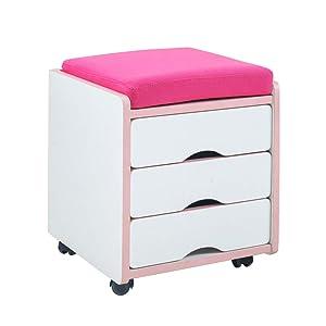 Tavoli FEI Armadietto per mobili con 3 cassetti Armadietto per mobili con 1 cassettiera per armadietti con Imbottitura di Piccole Dimensioni Fornisce Un Comodo alloggiamento (Colore : Pink)