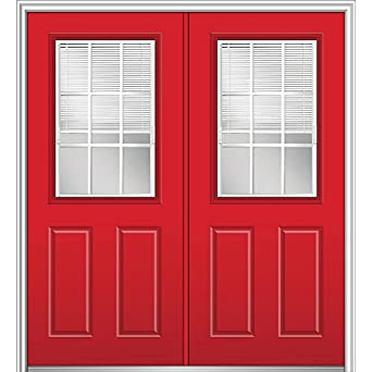 Gentil National Door Company Z024853R Fiberglass Smooth Red Saffron Right Hand  In Swing Prehung Double Entry