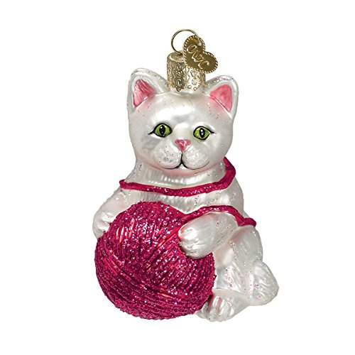 Old World Christmas Glass Blown Ornament with S-Hook and Gift Box, Cat Collection (Playful Kitten [White])