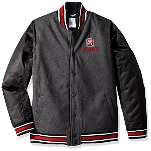 Wolfpack Nc State Jacket - Outerstuff NCAA North Carolina State Wolfpack Youth Boys Letterman Varsity Jacket, X-Large (18), Charcoal Grey
