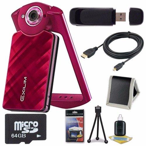 Casio ex-tr50 Self Portrait/自撮りデジタルカメラ(レッド) + 64 GB MicroSDクラス10メモリカード+マイクロHDMIケーブル+ SDカードUSBリーダー+メモリカード財布+デラックススターターキット6 Aveバンドル   B00X8F245S