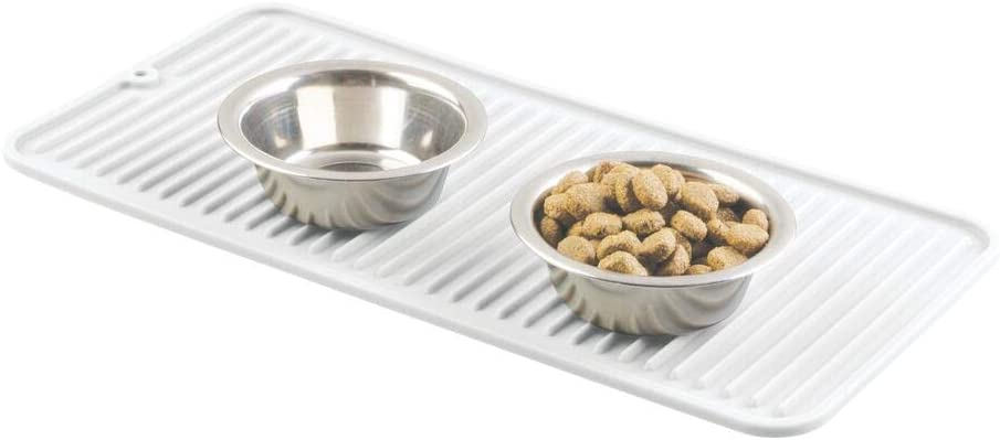 mDesign Premium Quality Pet Food and Water Bowl Feeding Mat for Dogs and Puppies - Raised Edges, Waterproof Non-Slip Durable Silicone Placemat - Food Safe, Non-Toxic - Small - White