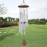 Sympathy Wind Chimes Outdoor Large,44 Inches Amazing Grace Wind Chimes Outdoor Large with 8 Tubes Tuned Relaxing Melody,Memorial Wind Chimes for Mom,Garden Decor, Silver(A Free Card)