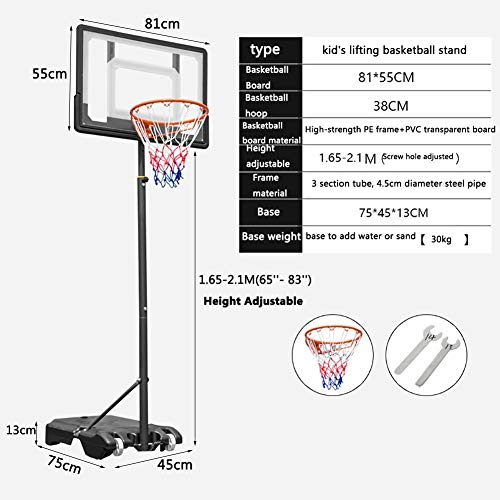 Basketball Stand Height Adjustable w/Wheels 165-210cm (65'' to 83'') | Outdoor Basketball Hoop Stand Toy Set for Kids Toddler by Basketball Stand (Image #1)