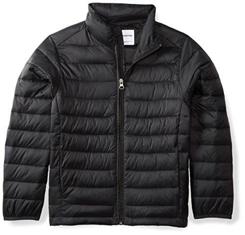 Amazon Essentials Boys' Lightweight Water-Resistant Packable Puffer Jacket, Black Caviar, Large