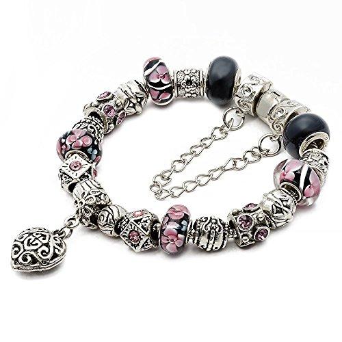 (RUBYCA Silver Tone European Charm Bracelet 7.9