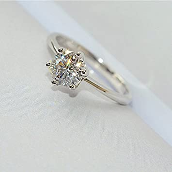 Amazon.com: Anillo de diamante de moda, seis garras de ...