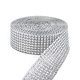 vase resin - Simulative Diamond Mesh Wrapping Ribbon Roll,DIY Bling for Cake Vase Candle Decorations on Birthday Wedding(8 Row,1.5