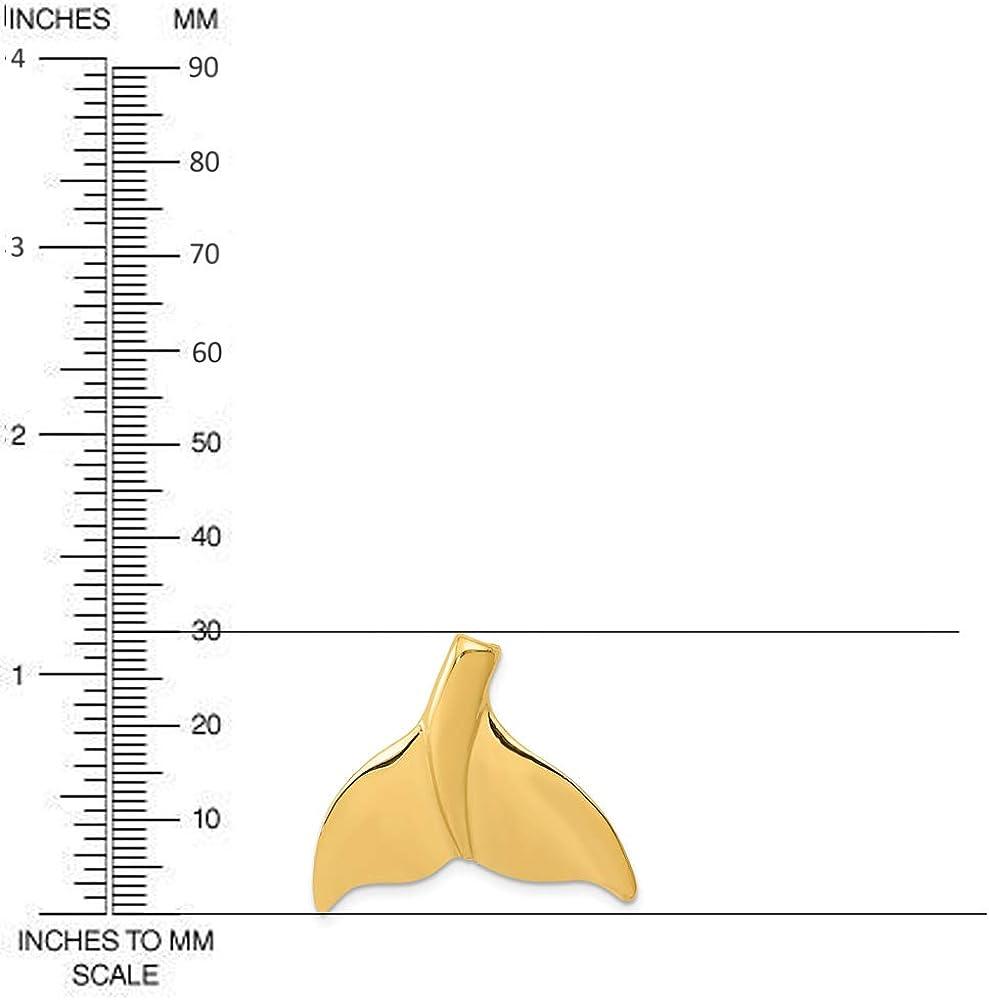 Diamond2Deal 14k Yellow Gold Whale Tail Slide Pendant