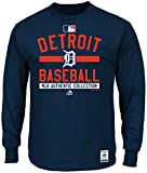Detroit Tigers MLB Majestic Mens Long Sleeve Color Block Shirt Navy Blue Big & Tall Sizes