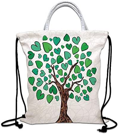Tree of Life Drawstring Backpack,Valentines Love Tree with Heart Leaves on Curved Patterns Nature Life Decorative Lightweight Gym Sackpack Tote Bags for Gym Hiking Travel Beach,Green Brown White