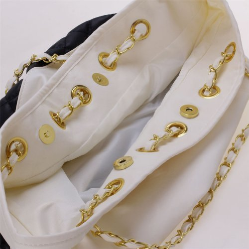 Moda donna donne PU borsetta borsa a tracolla shopping borsa a tracolla (bianco e nero)