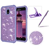 Purple Shockproof Case for Samsung Galaxy J7 2018,Herzzer Stylish 3 in 1 Glitter Heavy Duty Drop Proof Tough Rugged Impact Defender Full Body Case