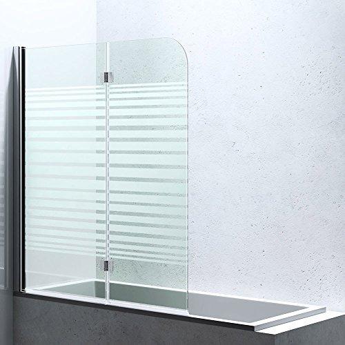 BxH:117x141 cm Duschabtrennung / Duschwand für Badewane aus Glas Cortona1408S-Links, Wandanschlag links, inkl. Nanobeschichtung, Badewannenfaltwand