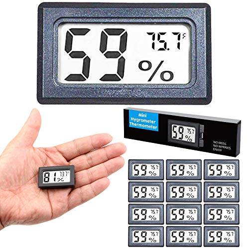 Goabroa (12 Pack) Mini Hygrometer Thermometer, Digital Indoor Humidity Gauge Monitor with Temperature Meter Sensor Fahrenheit (℉)