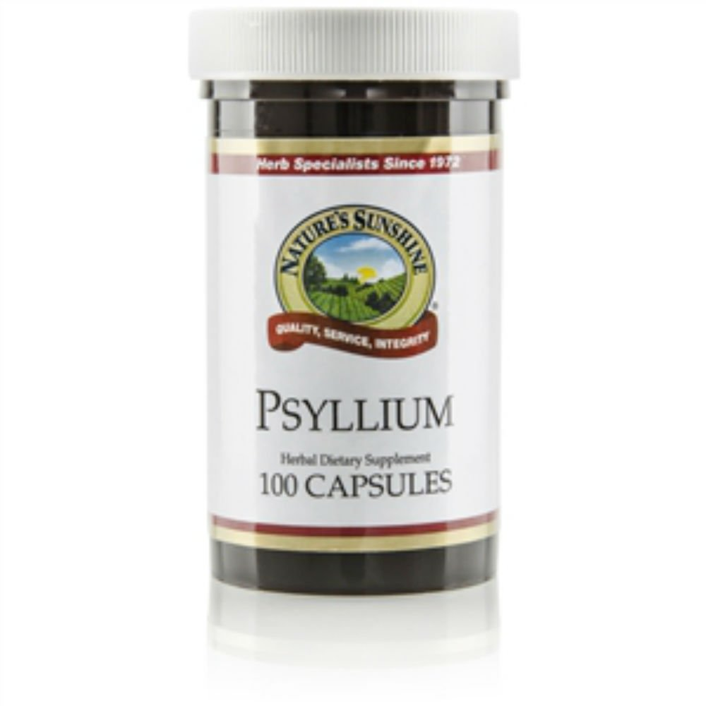 Naturessunshine Psyllium (Seeds) Intestinal System Support 600 mg 100 Capsules (Pack of 6)