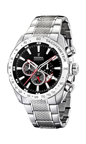 Festina Men's F16488/5 Silver Stainless-Steel Quartz Watch with Black Dial