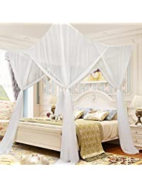 4 Corner Post Mesh Bed Canopy Mosquito Net Full Queen King Size Bed Netting  Bedding White
