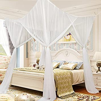 4 Corner Post Mesh Bed Canopy Mosquito Net Full Queen King Size Bed Netting Bedding White & Amazon.com: 4 Corner Post Mesh Bed Canopy Mosquito Net Full Queen ...