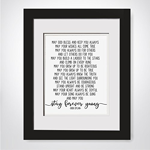 Bob Dylan Lyrics, Stay Forever Young, Framed Song Lyrics, Wedding Lyrics Frame, Poem For Godson, Baptism Gift Godson, Gift From Aunt, Nursery Decor