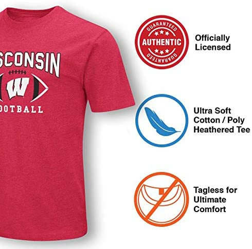 Colosseum Wisconsin Badgers Adult NCAA First Down T-Shirt Red