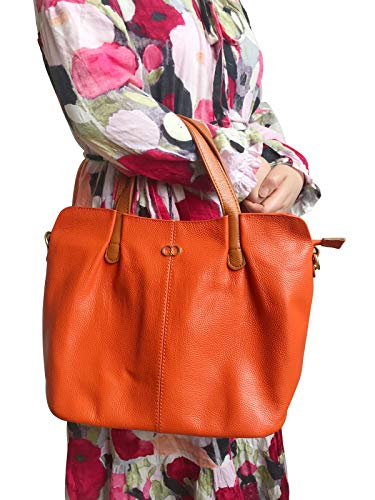 (CHERRY CHICK Women's Fashionable Pebbled Leather Handbag Crossbody Bags Light Soft Purse Top-handles Bag (Orange))