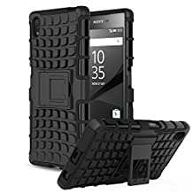 Sony Xperia Z5 Case - MoKo Heavy Duty Rugged Dual Layer Armor with Kickstand Protective Cover for Sony Xperia Z5 5.2 Inch Smartphone 2015 Edition, BLACK