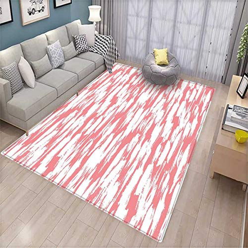 Abstract Anti-Skid Rugs Hipster Style Inspirations Brush Stroke Stripes Watercolor Paint Smears Vintage Girls Rooms Kids Rooms Nursery Decor Mats Coral White -