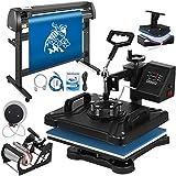 Mophorn Heat Press Machine 12x15 inch 5in1 T-Shirt Heat Press and Vinyl Cutter 53 inch Plotter Machine 1350mm Paper Feed Vinyl Cutter Plotter