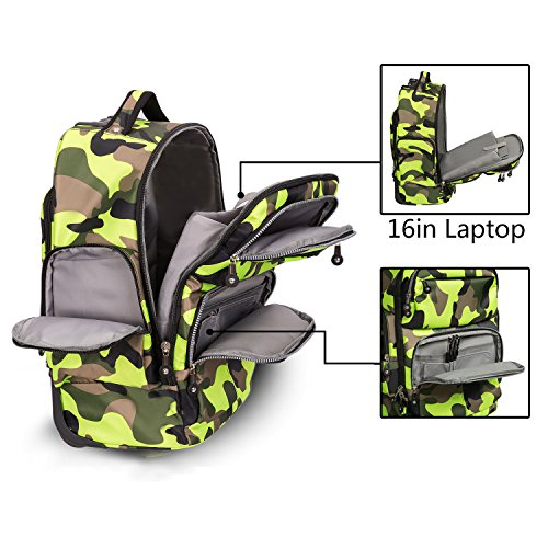 20 inches Big Storage Waterproof Wheeled Rolling Backpack Travel Luggage for Boys Students School Books Laptop Bag, Green Camouflage by HollyHOME (Image #4)