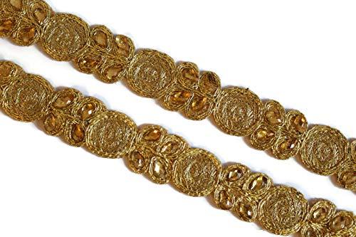 (09 yards of golden scarf dress border kundan embellishment by)