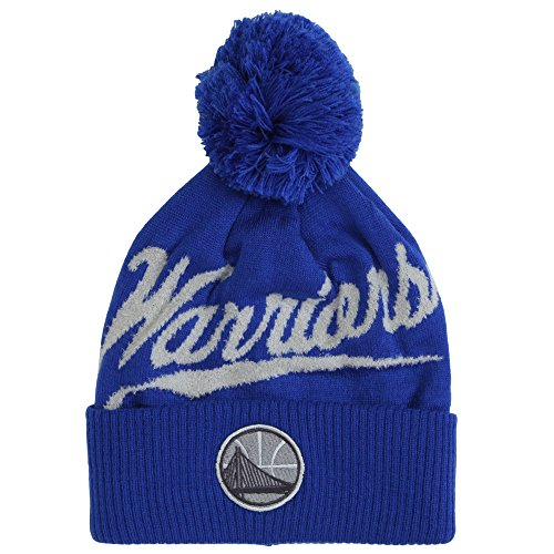Mitchell & Ness NBA Greyton Script Cuffed Pom Beanie Knit Hat - Golden State Warriors