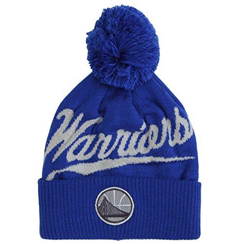 (Mitchell & Ness NBA Greyton Script Cuffed Pom Beanie Knit Hat - Golden State Warriors)